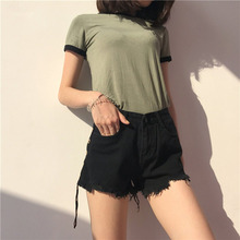 Korean Fashionable Women Black High Waist Denim Shorts Casual Summer All Match Clothes Female Round Ring Decorate Shorts(China)