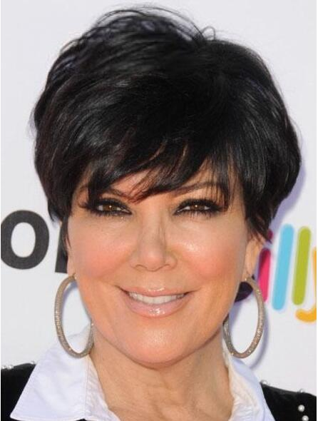 Attractive Kris Jenner Hairstyle Short Straight Black Color 100% Real Hair Wigs For Black Women<br><br>Aliexpress