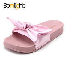 Bomlight Silk Bow Slides Women Summer Beach Shoes Woman Female Slippers Flat Heels Flip Flops Ladies Sliders Shoes(China)