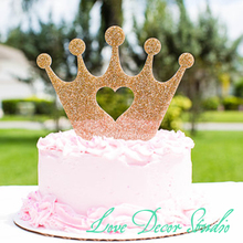 "6"" wide x 5"" tall Cake Topper Princess Crown for BirthdayGold Glitter Girls' Birthday Party Cake Topper Princess crown with Hear"