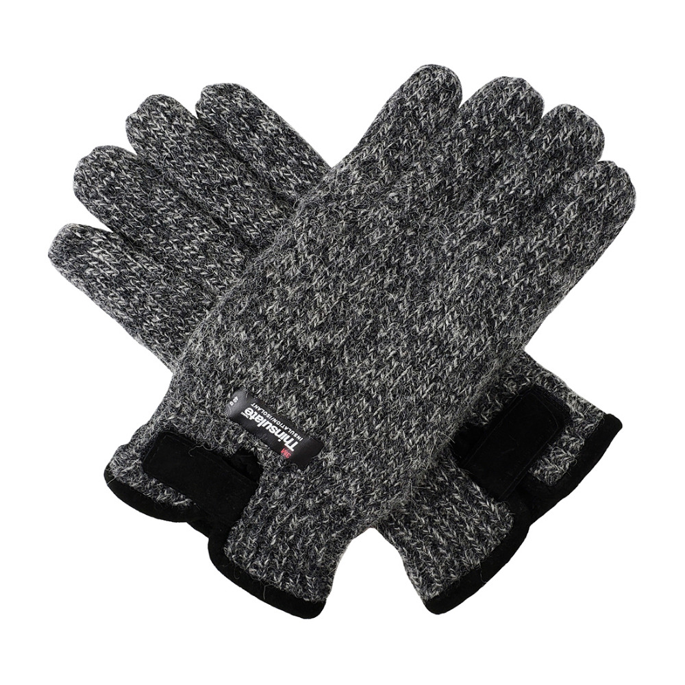 GREY ONE SIZE MENS THERMAL  KNIT GLOVES