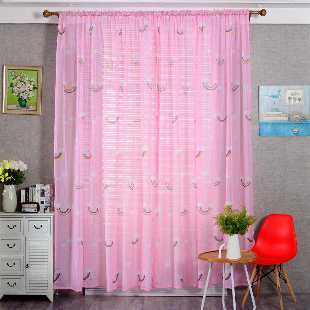 1 PCS Rainbow Color Silk Door Curtains For Girl Bedroom Window Screen Drapes Sheer Scarf Valances Bedroom Window Curtains