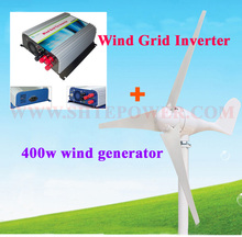 500w grid tie wind inverter 3 phase ac 10.8-30v input to ac output with 400w 400watts wind turbine ac 12v generator(China)