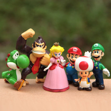 High Quality 2int PVC Super Mario Bros Luigi donkey kong Action Figures 6pcs/set youshi mario Christmas Gift Anime SM013(China)