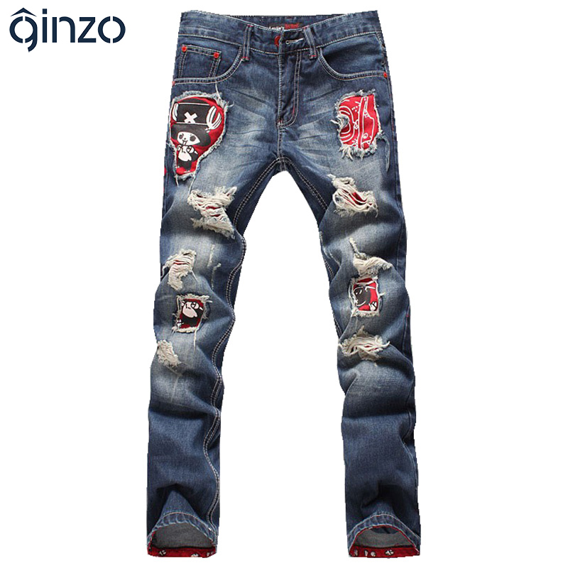Mens print jeans hole jeans male roll-up hem ripped jeans cartoon personality applique denim pants Free shippingОдежда и ак�е��уары<br><br><br>Aliexpress