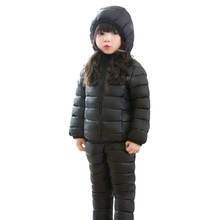 Autumn Winter Children Clothing Sets Solid Zipper Hooded Coats Kids Down Jackets+ Pants 2 Pcs(China)