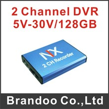 Free shipping 2 channel CCTV DVR model BD-302, works with 128GB SD memory, auto recording 2 cameras, motion detection
