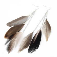 H:HYDE 2016 Vintage Feather Earrings For Women Boucle D'oreille Femme Fashion Long Earrings Brinco Jewelry Pendientes Bijoux(China)