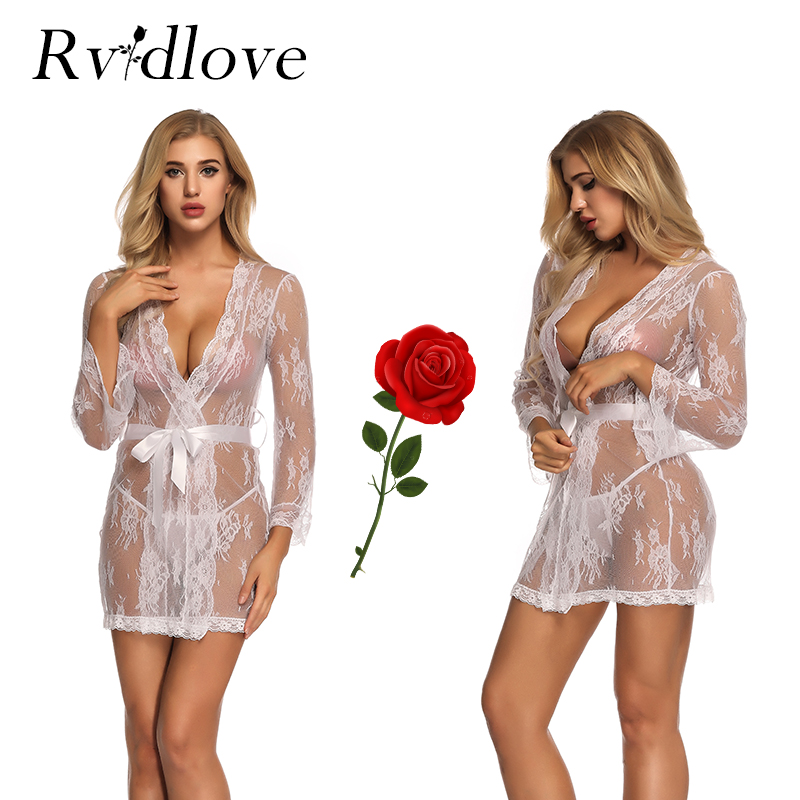 White Kimono Sexy Erotic Lingeries Eyelash Lace Nightgown Transparent Sex Exotic Mesh Sheer Nightie Hot Bathrobe Exotic Apparel