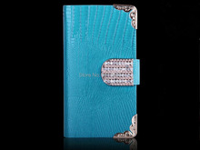 Luxury Lizard Bling Diamond Wallet Leather Case Flip Cover With Card Slots Stand Case For Samsung Galaxy S6 Edge for iphone 6