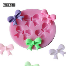 Bow Tie Shape Fondant Cake Foodgrade Silicone Mold Chocolate Mold Sugar Paste Sugar Art Tools Baking Forms Cake Decorating Tools(China)