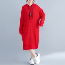 Plus size Knitting Dress Women Winter Clothing Casual Loose Tie Collar Hooded Striped Preppy Style Knee-Length Big Dresses(China)