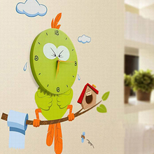 Creative DIY 3D Interior Decorating Vinyl Owl Wall Paper Sticker Clock for Kids Room