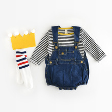 2017 spring summer baby boy romper cool denim infant clothes baby one-piece knit baby girls boys romper coverall babysuits 0-24M