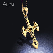 A&N Unisex Golden Silver Cross Pendant Choker Necklace Noble Jewelry Region Jesus Ax Pendant Choker Thanksgiving Christmas Gift(China)