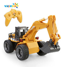 Full Functional RC Excavator Movable Lifting Arm 6CH 1:18 Electric Truck Remote Control Construction Tractor With Lights & Sound(China)
