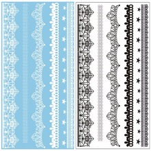 Latest Design 2PC White/Black Henna Ink Lace Temporary Tattoo Inspired Sticker fake transfer tattoo stickers hot tatoo