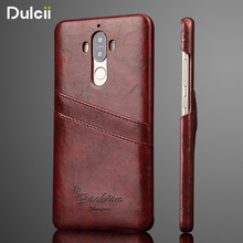 DULCII Card Holder Case for Huawei Mate9 Mate 9 Pro Phone Cover Oil Wax PU Leather Skin Hard PC Casing Cases Mobile Back Shell