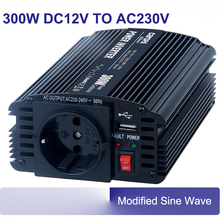 car power inverters 300w 50/60hz modified sine wave DC 12V AC 220V 230V inverters CE-EMC/LVD, RoHS, E-mark approval CAR300U-122