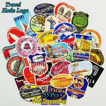 Mix 55 PCS Retro Style Travel Hotel Logo Hawaii Stickers for Travel Suitcase Wall Pencil Box Bike Sliding Car Sticker DIY Decals