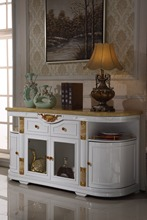 white wooden console table side cabinet storage drawer marble top made in China living room furniture