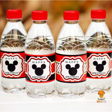 24pcs Mickey mouse water bottle label candy bar decoration kids birthday party supplies baby shower party favor AW-0604(China)