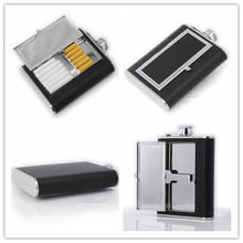 Multipurpose Cigarette case&6oz Stainless Steel Hip Flask Liquor Whisky Alcohol Cap Funnel Drinkware Bottle