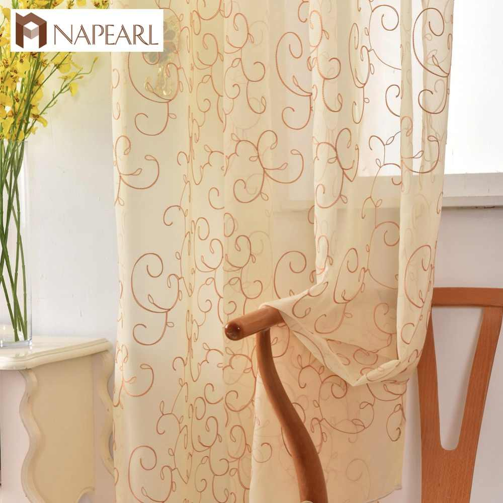 NAPEARL Embroidered organza sheer curtain kitchen white home tulle panel living room drapes curtains window treatments brand