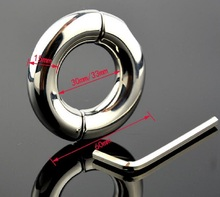 Buy Dia 30/33/40/45/50mm choose Stainless Steel Pendant Ball Stretcher penis Cock ring Metal Slave Sex Toy Men Scrotum Restraint