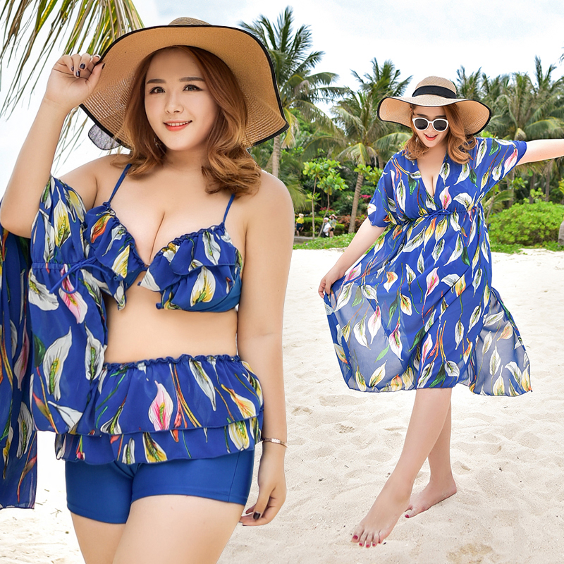 Summer Floral Print Sexy Women Plus Size Bikini Swimwear with Loose Cover-Ups 3 Pieces Swimsuit Sexy Beach Dress Bathing suit<br>