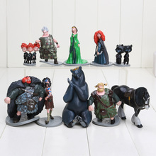 10pcs/set 5-11.5cm movie Brave Toy PVC Action Figures doll Merida Black Bear Collections Children gifts