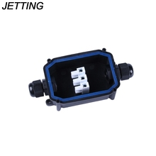 JETTING 1PCS Waterproof Black IP66 Plastic Cable Wire Connector Gland Electrical 2 Way Junction Box(China)