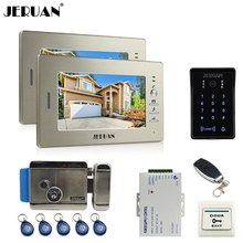 JERUAN wired 7`` LCD video doorphone intercom system 2 monitor RFID waterproof Touch Key password keypad camera+remote control