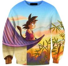 Son Goku Of Anime Crewneck Sweatshirts Dragon Ball Sunset Character Cartoon Sweats Men Jumper Outfits Tops Hooides Plus Size 5XL