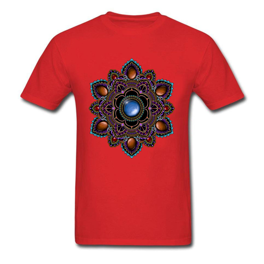 Printed On Tops Tees Cheap O-Neck Comics Short Sleeve Cotton Man T Shirts Customized T Shirt Drop Shipping Purple and Teal Mandala with Gemstones 15622 red