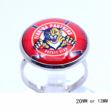 Florida Panthers Team Ring Ice Hockey Charms NHL Sport Jewlery Round Glass Dome Silver Plated  Ring For Women Girl Adjustable