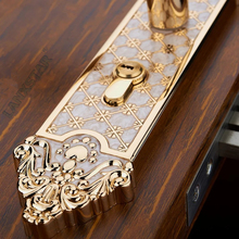 Top Solid Carved Wooden Locks European Style Bedroom Door Locks Bedroom Mute Handle Locks Hardware Mechanical Indoor Lockset