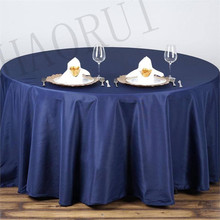10pcs Customize Table Cover Polyester Cotton 120''Round Navy Blue Luxury Dining Tablecloth Weddings Party Banqut FREE SHIPPING(China)