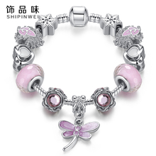 Fashion Bracelet&Bangle Lovely Pink Murano Glass Beads Dragonfly Charm Silver fit Bracelet For Mon&Child Jewelry Gift(China)