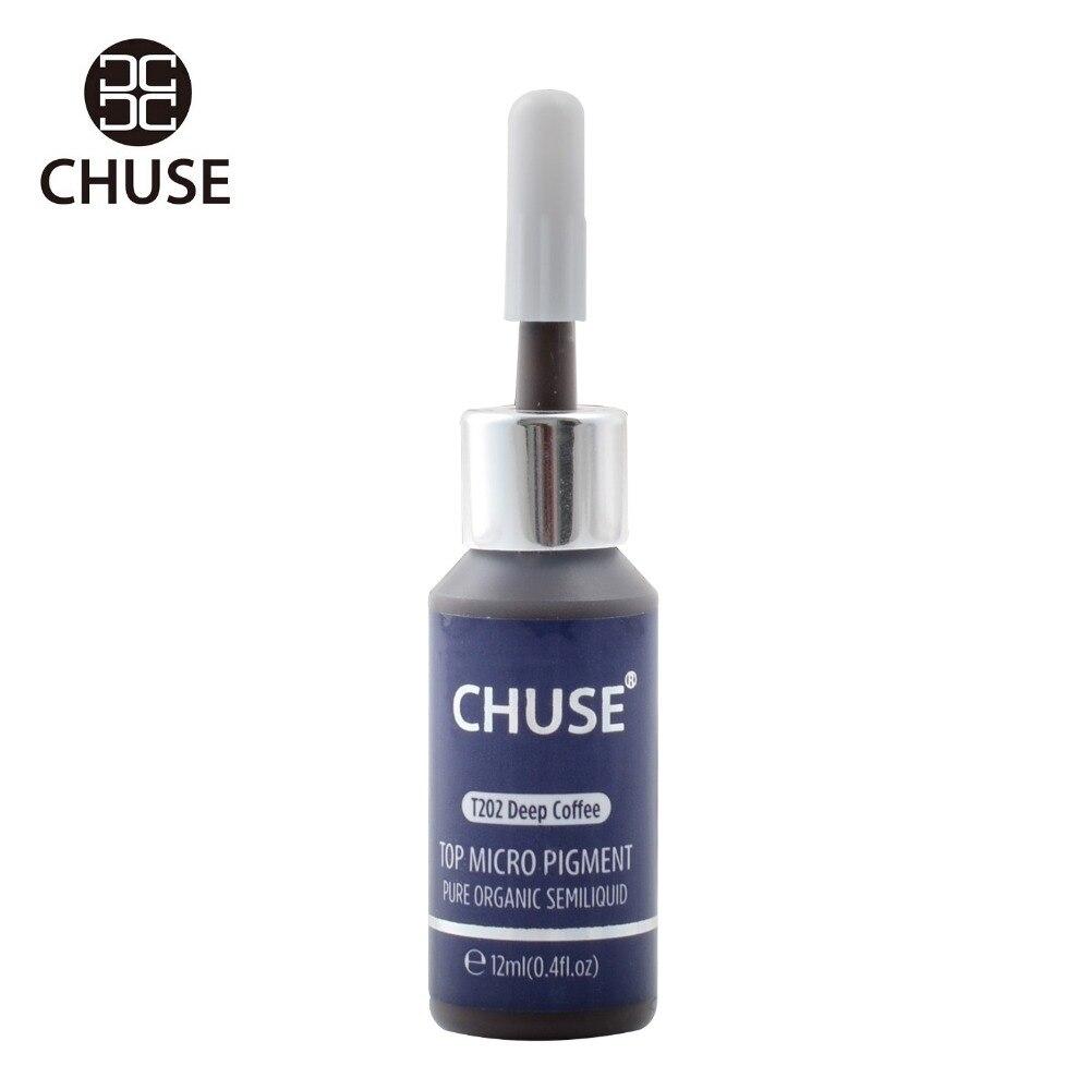 CHUSE Deep Coffee T202 Permanent Makeup Ink Eyeliner Tattoo Ink Set Eyebrow Microblading Pigment Professional 12ML 0.4oz<br>