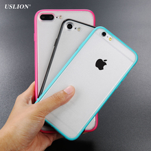 USLION Phone Case For iPhone 7 7 Plus Fashion Simple Style Transparent Cases Ultrathin Acrylic + TPU Back Cover Fundas