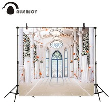 Allenjoy wedding photography backdrops Romantic beautiful white church doors windows photo backgrounds wedding background