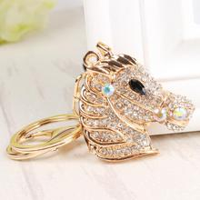 Gold Horse Head Lovely Cute Charm Pendant Metal Crystal Car Purse Bag Key Chain Ring Creative Party Gift Accessories(China)