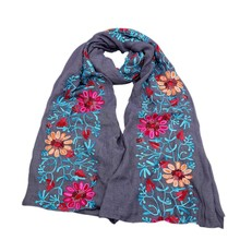 Women  Autumn Sunscreen Vintage Floral Embroidered Scarves Shawl Ethnic Ladies