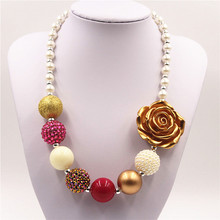 Gold color flower chunky beads necklace Best gifts to baby girl chunky bubblegum necklace jewelry for child kids(China)