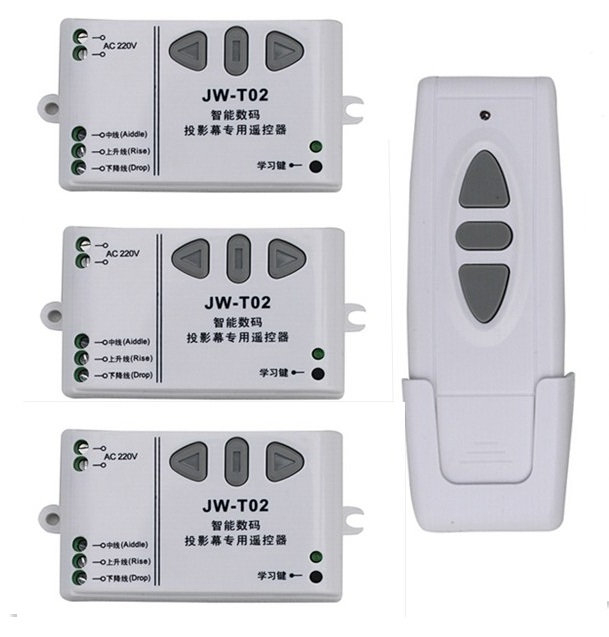 AC 220V Digital Projection Screen Controller Electrical Curtain Motor Wireless Remote Control Switch Receiver 315/433MHZ<br>