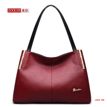 ZOOLER Genuine Leather women handbags tote solid color with slit pocket fashion to carry with new style 2size available#AEJ-1351