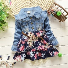 Baby Girls Dress 2015 Children Kids Clothing Denim Jeans Long Sleeve Baby Girls Princess Flora Dress 2 color 1-5 years(China)