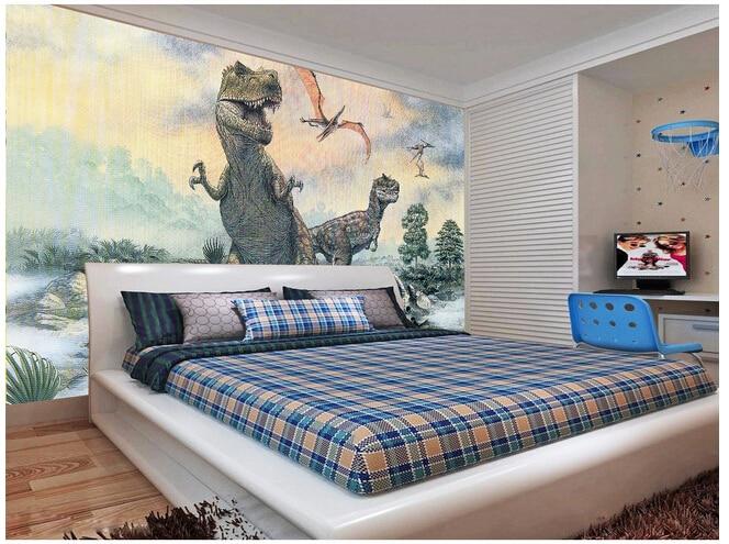 Custom wallpaper children, cartoon dinosaur wall wallpaper paper de parede vinyl for childrens couch TV wall<br><br>Aliexpress