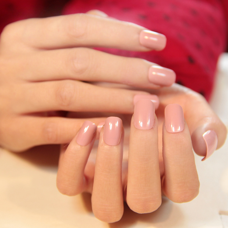 High Quality French Light Pink Pure Color False Nails Set Cute Fake